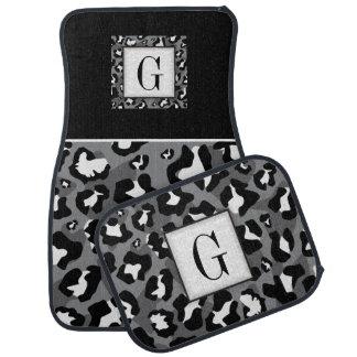 Black white leopard pattern monogram floor mat