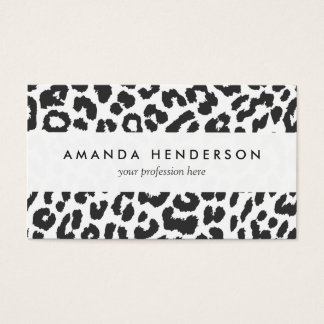 Black & White Leopard Print Animal Skin Patterns Business Card
