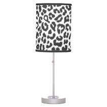 Black & White Leopard Print Animal Skin Patterns Desk Lamp