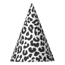 Black & White Leopard Print Animal Skin Patterns Party Hat