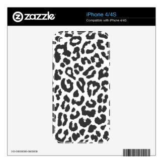 Black & White Leopard Print Animal Skin Patterns Skins For The iPhone 4S