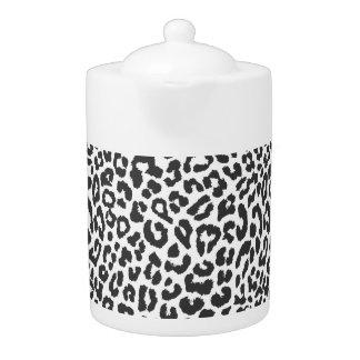 Black & White Leopard Print Animal Skin Patterns Teapot