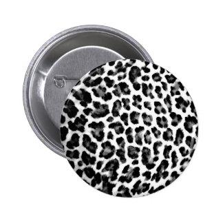 Black & White Leopard Print 2 Inch Round Button