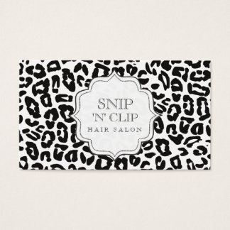 Black & White Leopard Print Hair Stylist Cards