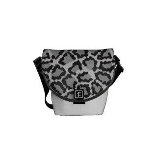 Black & White Leopard Print Messenger Bag