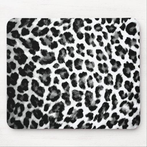 Black & White Leopard Print Mouse Pad