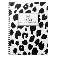 Black & White Leopard Print Personalized Notebook