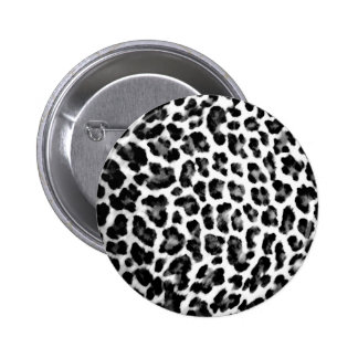 Black & White Leopard Print Pinback Button
