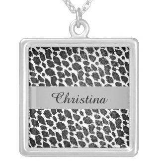 Black White Leopard Silver Plated Necklace