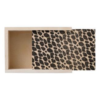 Black White Leopard Wooden Keepsake Box