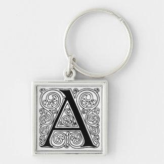 Black & White Letter 'A' - Keychain