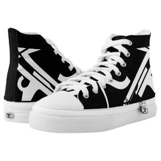 Black & White Leverage III Custom Designer Hi-Top Printed Shoes