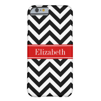 Black White LG Chevron Red Name Monogram Barely There iPhone 6 Case