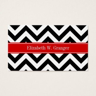 Black White LG Chevron Red Name Monogram Business Card