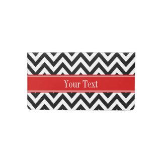 Black White LG Chevron Red Name Monogram Checkbook Cover