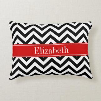 Black White LG Chevron Red Name Monogram Decorative Pillow