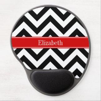 Black White LG Chevron Red Name Monogram Gel Mouse Pad