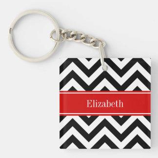 Black White LG Chevron Red Name Monogram Keychain