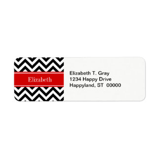 Black White LG Chevron Red Name Monogram Label