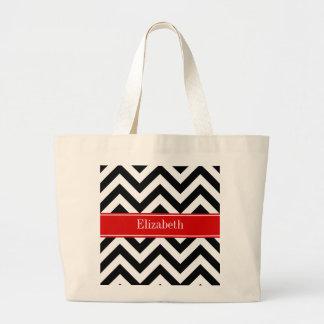 Black White LG Chevron Red Name Monogram Large Tote Bag