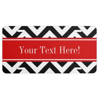 Black White LG Chevron Red Name Monogram License Plate
