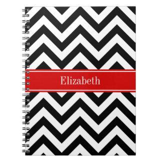 Black White LG Chevron Red Name Monogram Notebooks