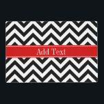 "Black White LG Chevron Red Name Monogram Placemat<br><div class=""desc"">Black and White Large Chevron Zig Zag Pattern, Red Ribbon Name Monogram Label Customize this with your name, monogram or other text. You can also change fonts, adjust font sizes and font colors, move the text, add text fields, etc. Please note that this is a digitally created graphic design that&#39;s...</div>"
