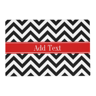 Black White LG Chevron Red Name Monogram Placemat