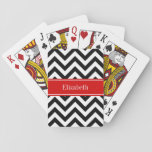 """Black White LG Chevron Red Name Monogram Playing Cards<br><div class=""""desc"""">Black and White Large Chevron Zig Zag Pattern, Red Ribbon Name Monogram Label Customize this with your name, monogram or other text. You can also change fonts, adjust font sizes and font colors, move the text, add text fields, etc. Please note that this is a digitally created graphic design that&#39;s...</div>"""