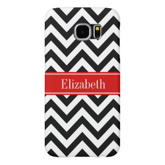 Black White LG Chevron Red Name Monogram Samsung Galaxy S6 Case