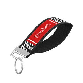 Black White LG Chevron Red Name Monogram Wrist Keychain