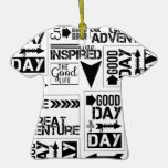 BLACK WHITE LIFE GOOD GREAT ADVENTURE INSPIRED COL CHRISTMAS TREE ORNAMENT