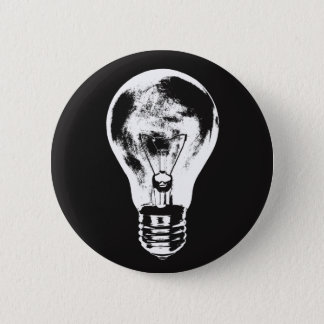 Black & White Light Bulb - Button