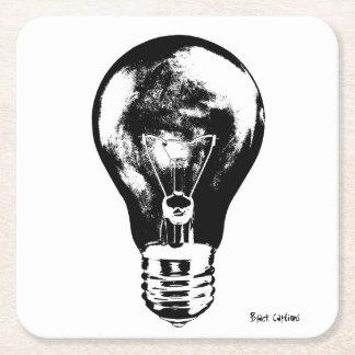 Black & White Light Bulb - Coasters