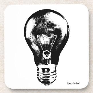 Black & White Light Bulb - Hard Plastic Coasters
