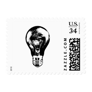 Black & White Light Bulb - Stamp