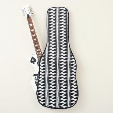 Beach Themed Black White Lightening Triangle Indian Guitar Case