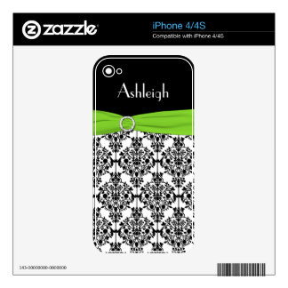 Black White Lime Damask iPhone 4/4s Skin Decal For The iPhone 4S