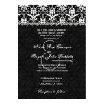 """Black White Lime Damask Lace Wedding Recycled 5"""" X 7"""" Invitation Card"""