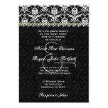 Black White Lime Damask Lace Wedding Recycled Personalized Invitation