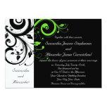 Black/White/Lime Green Bold Swirl Wedding Card