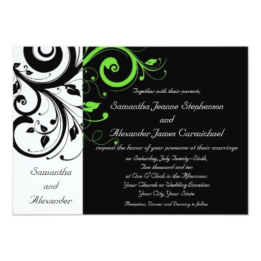Black White Lime Green Bold Swirl Wedding Card