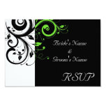Black/White/Lime Green Bold Swirl Wedding 3.5x5 Paper Invitation Card