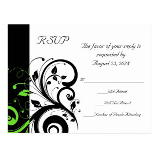 Black/White/Lime Green Bold Swirl Wedding RSVP Postcard