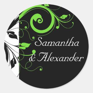 Black/White/Lime Green Bold Swirl Wedding Classic Round Sticker