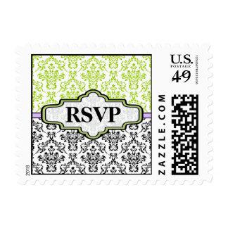 Black white lime purple damask wedding RSVP stamp