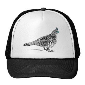 Black & White Line Drawing Wild Bird Trucker Hat