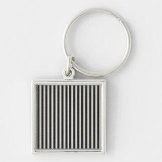 Black & White Linen Look Classic Vertical Stripe Keychains