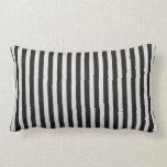 "Black &amp; White Linen Look Classic Vertical Stripe Lumbar Pillow<br><div class=""desc"">Check out www.zazzle.com/Sweetbriar_Drive for so many other beautiful styles,  items &amp; colors! &#169; SweetbriarDrive 2014. Do not copy.</div>"