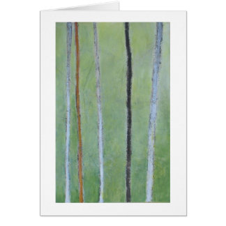 Black & white lines on green abstract painting greeting card